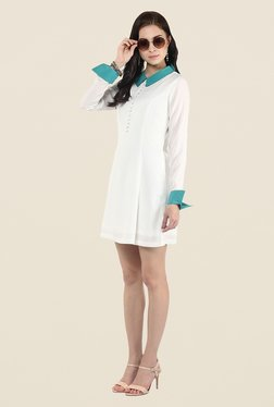 Yepme Ivory Solid Skater Dress