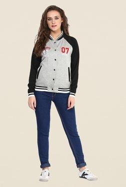 Yepme Grey & Black Cindy Full-sleeved Jacket