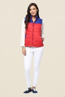 Yepme Coral & Blue Carice Sleeveless Jacket