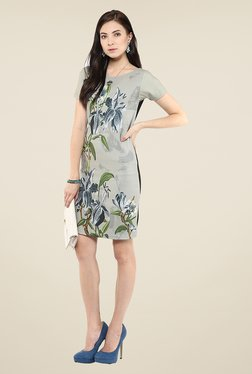 Yepme Grey Floral Print T-Shirt Dress