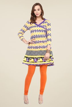 Yepme Yellow & Purple Printed Kurti