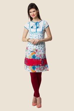 Yepme Evie White & Blue Floral Print Kurti