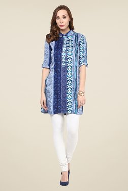 Yepme Blue Printed Peter Pan Collar Kurti