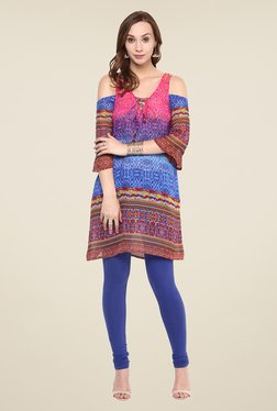 Yepme Pink & Blue Printed Cut-out Tunic