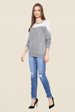 Yepme Jess Grey Lace Sweatshirt