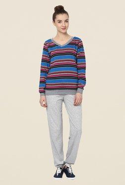 Yepme Rihanna Blue Striped Sweatshirt