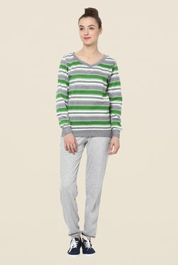 Yepme Rihanna Green & Grey Striped Sweatshirt