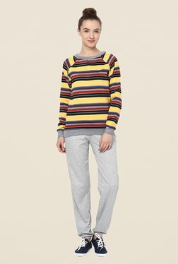 Yepme Jodie Yellow Striped Sweatshirt