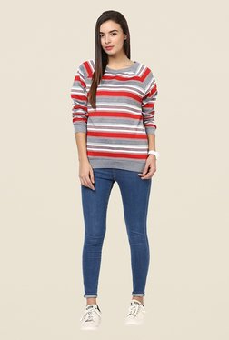 Yepme Jodie Red & Grey Striped Sweatshirt
