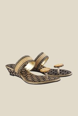 Cocoon Black & Gold Wedge Heeled Sandals