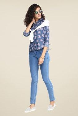 Yepme Blue Floral Print Shirt