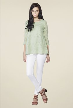 AND Sage Green Self Print Top