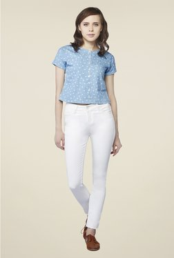 AND Blue Floral Print Top