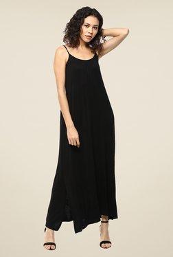 Femella Black Gathered Jersey Maxi Dress