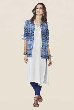 Global Desi Dark Blue Printed Shirt Collar Top
