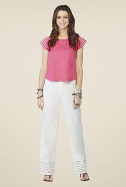 Global Desi Pink Geometric Print Cap-sleeved Top