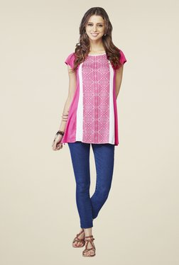 Global Desi Pink Geometric Print Top