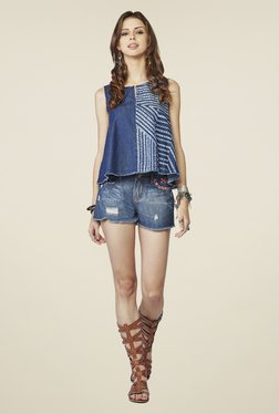 Global Desi Blue Printed Sleeveless Top