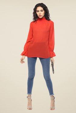 Femella Orange Smocked Neck Top