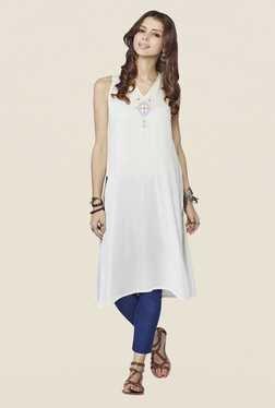 Global Desi Off-white Solid Sleeveless Kurta