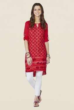 Global Desi Red Printed 3/4th Sleeves Kurta