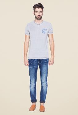 Mufti Grey Slim Fit V Neck T Shirt