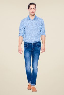 Mufti Dark Blue Heavily Washed Slim Fit Cotton Jeans