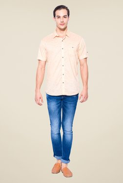 Mufti Peach Fish Print Shirt
