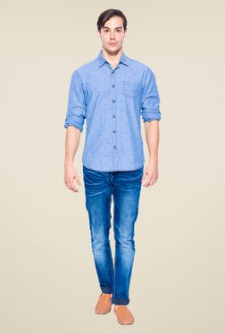 Mufti Light Blue Fish Print Shirt