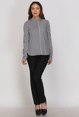 Kaaryah White & Black Stripes Shirt