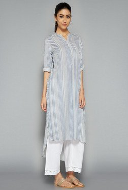 Utsa By Westside Indigo & White Striped Kurta