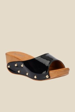 Bruno Manetti Black Wedge Heeled Sandals - Mp000000000303187