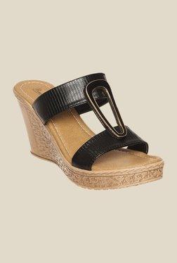 Bruno Manetti Black Wedge Heeled Sandals