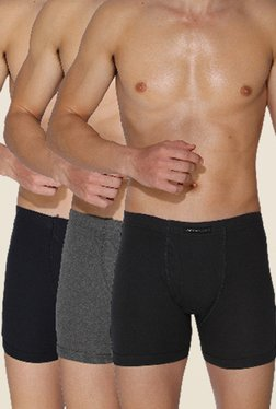Chromozome Ash, Charcoal & Navy Cotton Trunks (Pack Of 3)