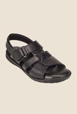 Khadim's British Walkers Black Leather Sandals