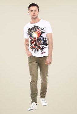 Yepme Marvel Civil War White Graphic Printed Cotton T Shirt