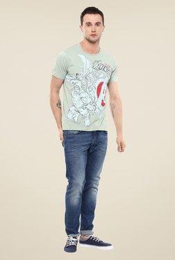 Yepme Marvel & Disney Green Printed Round Neck T Shirt