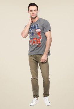 Yepme Marvel Civil War Grey Graphic Round Neck T Shirt