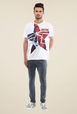 Yepme Marvel Civil War White Graphic Printed T Shirt