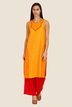 Aurelia Orange Printed Round Neck Kurta