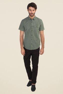 Calvin Klein Olive Solid Half Sleeve Shirt