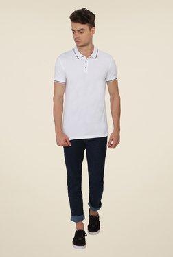Calvin Klein White Solid Polo T-Shirt