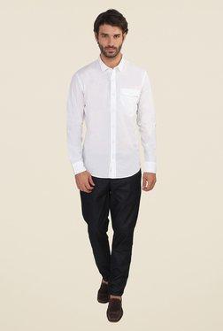 Calvin Klein White Solid Full Sleeve Shirt