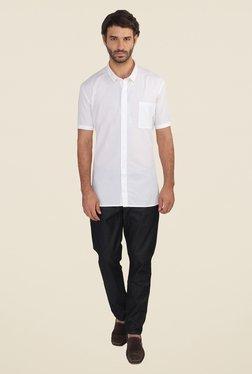 Calvin Klein White Solid Half Sleeve Shirt