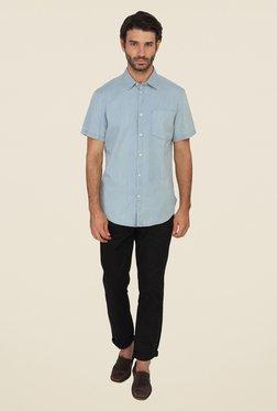 Calvin Klein Blue Solid Half Sleeve Shirt