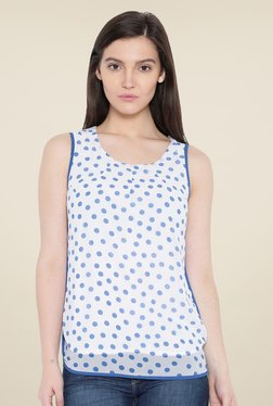 Kraus White & Blue Polka Dot Print Top
