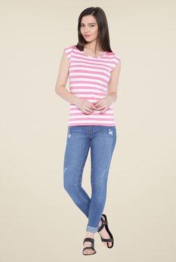 Kraus Pink & White Striped T Shirt