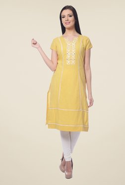 Forever Fashion Yellow Embroidered Linen Kurta