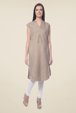 Forever Fashion Brown Linen Kurta