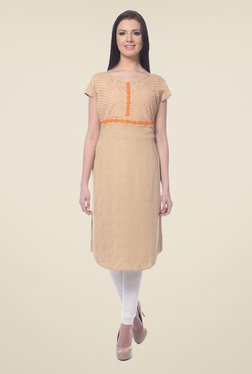 Forever Fashion Beige Embroidered Kurta
